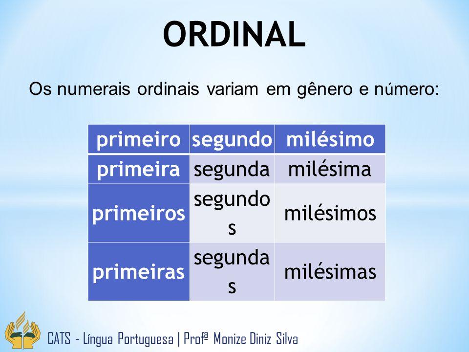 ORDINAL CATS - Língua Portuguesa   Profª Monize Diniz Silva primeirosegundomilésimo primeirasegundamilésima primeiros segundo s milésimos primeiras segunda s milésimas Os numerais ordinais variam em gênero e n ú mero: