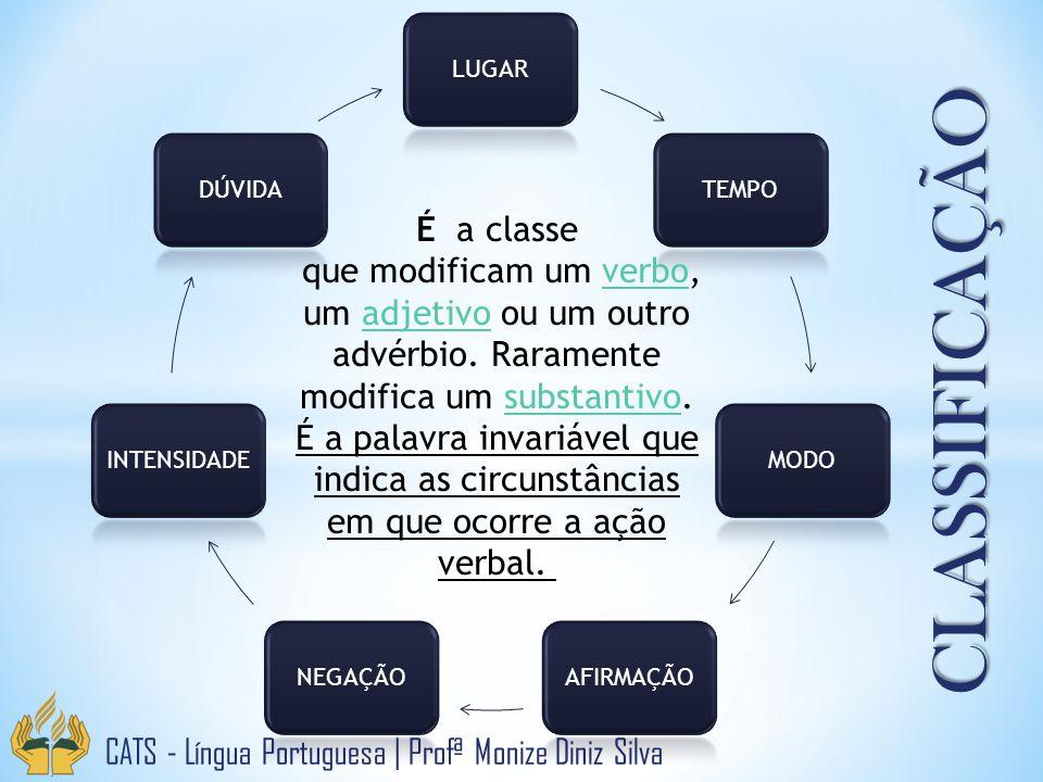 CLASSIFICAÇÃO LUGARTEMPOMODOAFIRMAÇÃONEGAÇÃOINTENSIDADEDÚVIDA É a classe que modificam um verbo, um adjetivo ou um outro advérbio. Raramente modifica