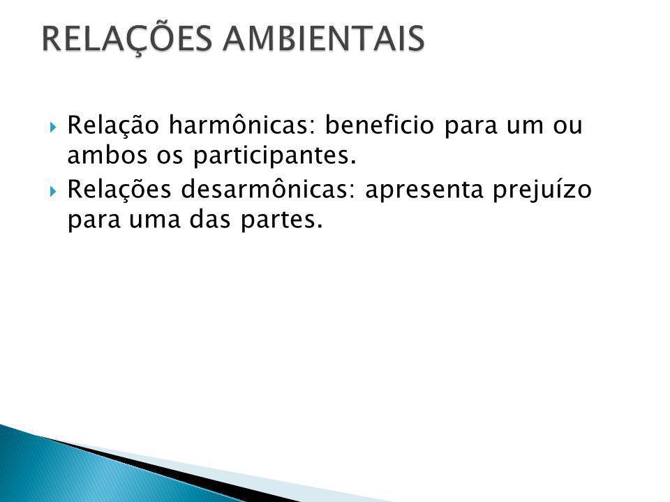 Relação harmônicas: beneficio para um ou ambos os participantes. Relações desarmônicas: apresenta prejuízo para uma das partes.