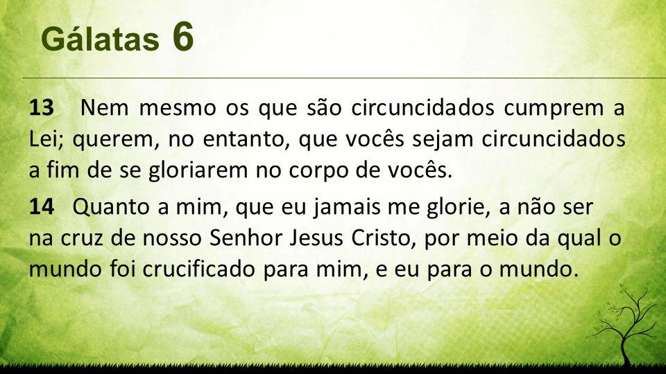 Gálatas 6 13 Nem mesmo os que são circuncidados cumprem a Lei; querem, no entanto, que vocês sejam circuncidados a fim de se gloriarem no corpo de voc