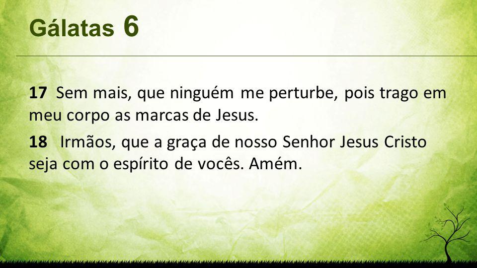 Gálatas 6 17 Sem mais, que ninguém me perturbe, pois trago em meu corpo as marcas de Jesus. 18 Irmãos, que a graça de nosso Senhor Jesus Cristo seja c