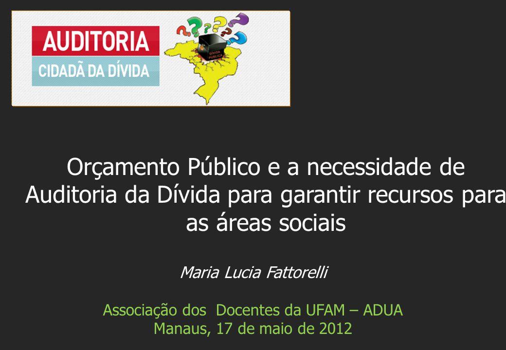 Maria Lucia Fattorelli Associação dos Docentes da UFAM – ADUA Manaus, 17 de maio de 2012 Orçamento Público e a necessidade de Auditoria da Dívida para garantir recursos para as áreas sociais
