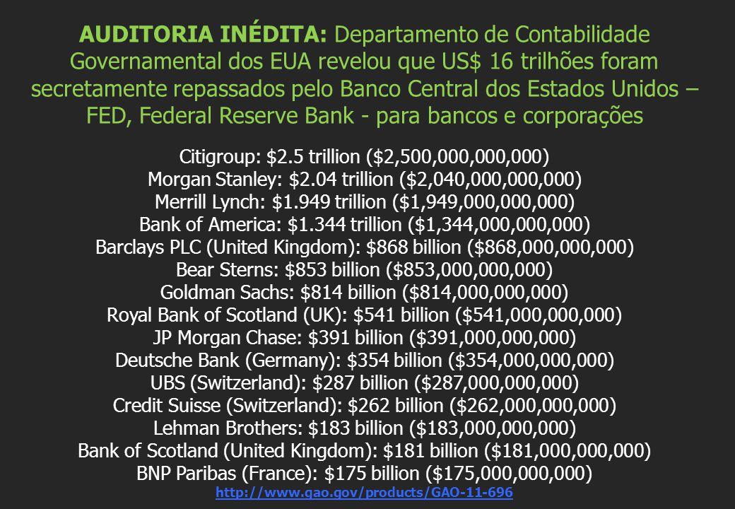 AUDITORIA INÉDITA: Departamento de Contabilidade Governamental dos EUA revelou que US$ 16 trilhões foram secretamente repassados pelo Banco Central dos Estados Unidos – FED, Federal Reserve Bank - para bancos e corporações Citigroup: $2.5 trillion ($2,500,000,000,000) Morgan Stanley: $2.04 trillion ($2,040,000,000,000) Merrill Lynch: $1.949 trillion ($1,949,000,000,000) Bank of America: $1.344 trillion ($1,344,000,000,000) Barclays PLC (United Kingdom): $868 billion ($868,000,000,000) Bear Sterns: $853 billion ($853,000,000,000) Goldman Sachs: $814 billion ($814,000,000,000) Royal Bank of Scotland (UK): $541 billion ($541,000,000,000) JP Morgan Chase: $391 billion ($391,000,000,000) Deutsche Bank (Germany): $354 billion ($354,000,000,000) UBS (Switzerland): $287 billion ($287,000,000,000) Credit Suisse (Switzerland): $262 billion ($262,000,000,000) Lehman Brothers: $183 billion ($183,000,000,000) Bank of Scotland (United Kingdom): $181 billion ($181,000,000,000) BNP Paribas (France): $175 billion ($175,000,000,000) http://www.gao.gov/products/GAO-11-696
