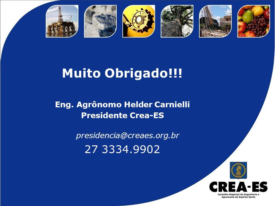 Muito Obrigado!!! Eng. Agrônomo Helder Carnielli Presidente Crea-ES presidencia@creaes.org.br 27 3334.9902