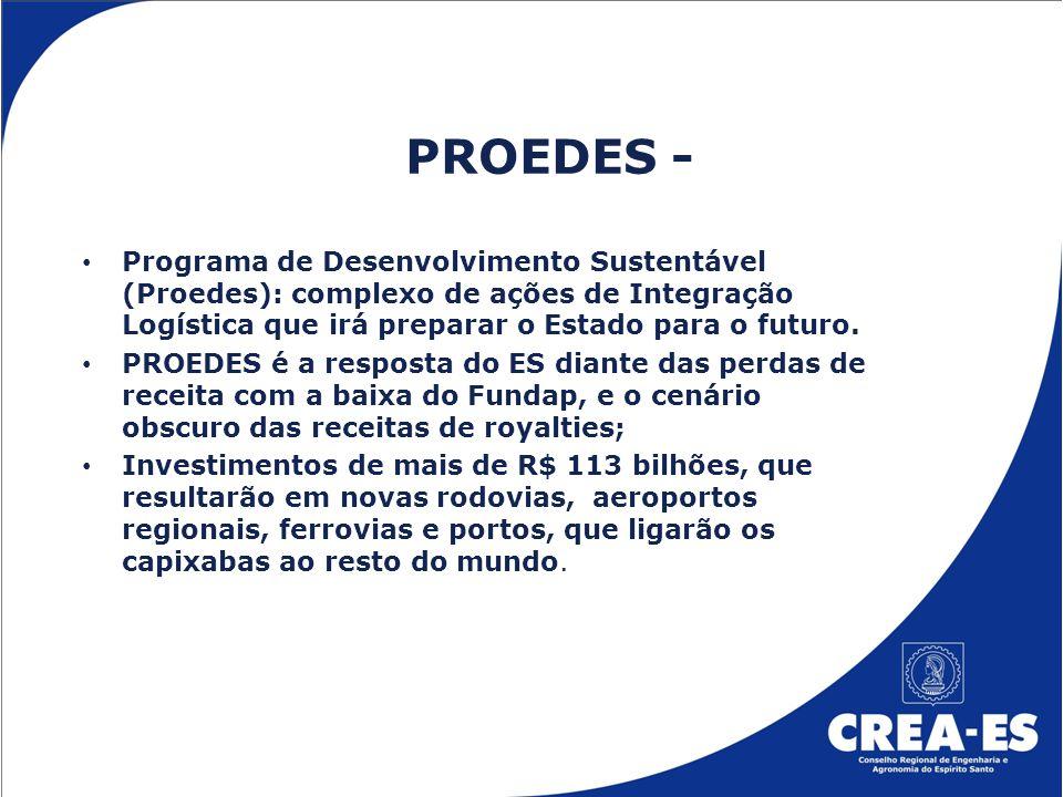 PROEDES - Programa de Desenvolvimento Sustentável (Proedes): complexo de ações de Integração Logística que irá preparar o Estado para o futuro. PROEDE