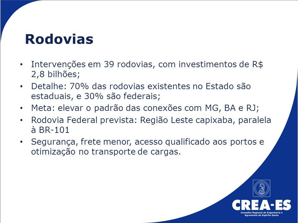 AEROPORTOS: Conclusão do Aeroporto de Vitória: investimento de R$ 700 milhões (da União), incluindo Terminal de Cargas, com início das obras em março 2014; Investimentos de mais R$ 200 milhões em aeroportos regionais capixabas nas Cidades: Cachoeiro, Guarapari, Linhares, São Mateus e Colatina.