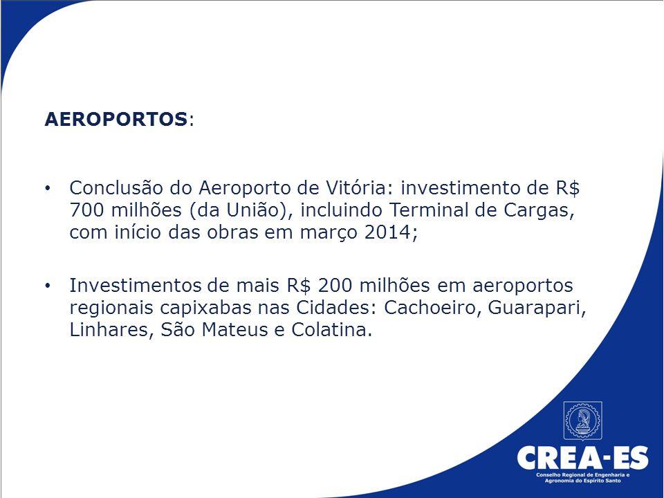 AEROPORTOS: Conclusão do Aeroporto de Vitória: investimento de R$ 700 milhões (da União), incluindo Terminal de Cargas, com início das obras em março