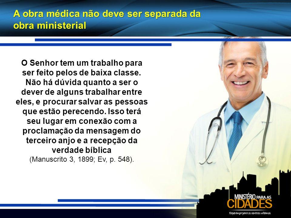 A obra médica não deve ser separada da obra ministerial O Senhor tem um trabalho para ser feito pelos de baixa classe.