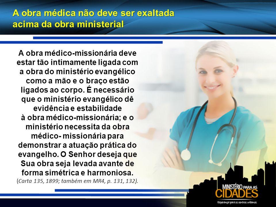 A obra médica não deve ser exaltada acima da obra ministerial A obra médico-missionária deve estar tão intimamente ligada com a obra do ministério evangélico como a mão e o braço estão ligados ao corpo.