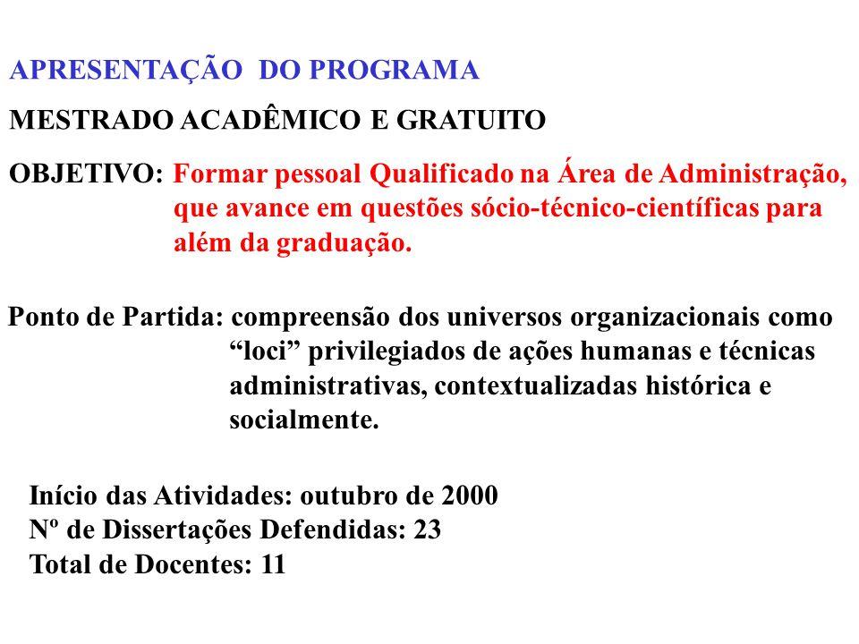 APRESENTAÇÃO DO PROGRAMA OBJETIVO: Formar pessoal Qualificado na Área de Administração, que avance em questões sócio-técnico-científicas para além da graduação.