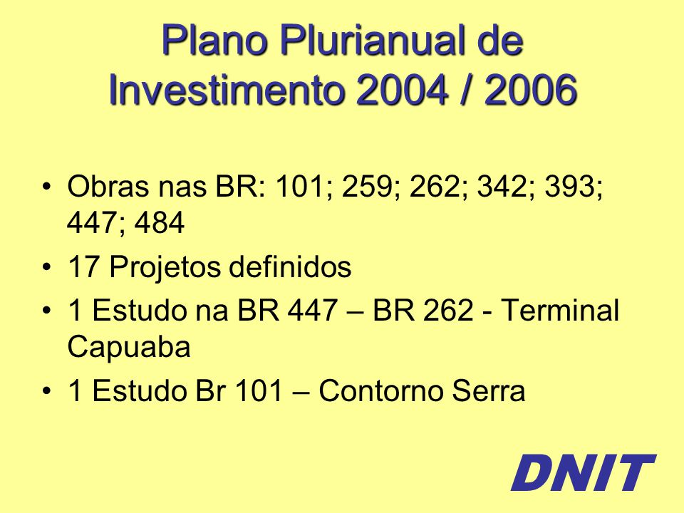 DNIT Plano Plurianual de Investimento 2004 / 2006 Obras nas BR: 101; 259; 262; 342; 393; 447; 484 17 Projetos definidos 1 Estudo na BR 447 – BR 262 - Terminal Capuaba 1 Estudo Br 101 – Contorno Serra