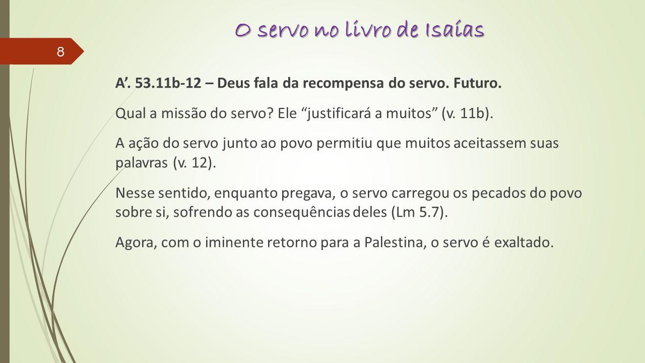 O servo no livro de Isaías A.53.11b-12 – Deus fala da recompensa do servo.
