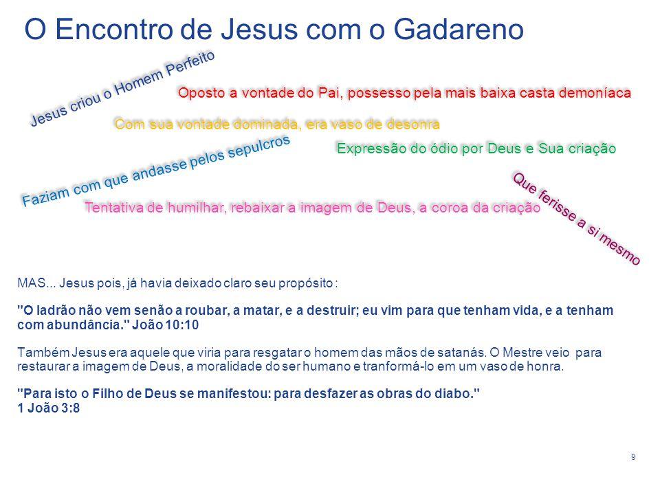 10 1 - Os demônios não podem resistir a mera aproximação de Jesus, eles se prostram diante dEle.
