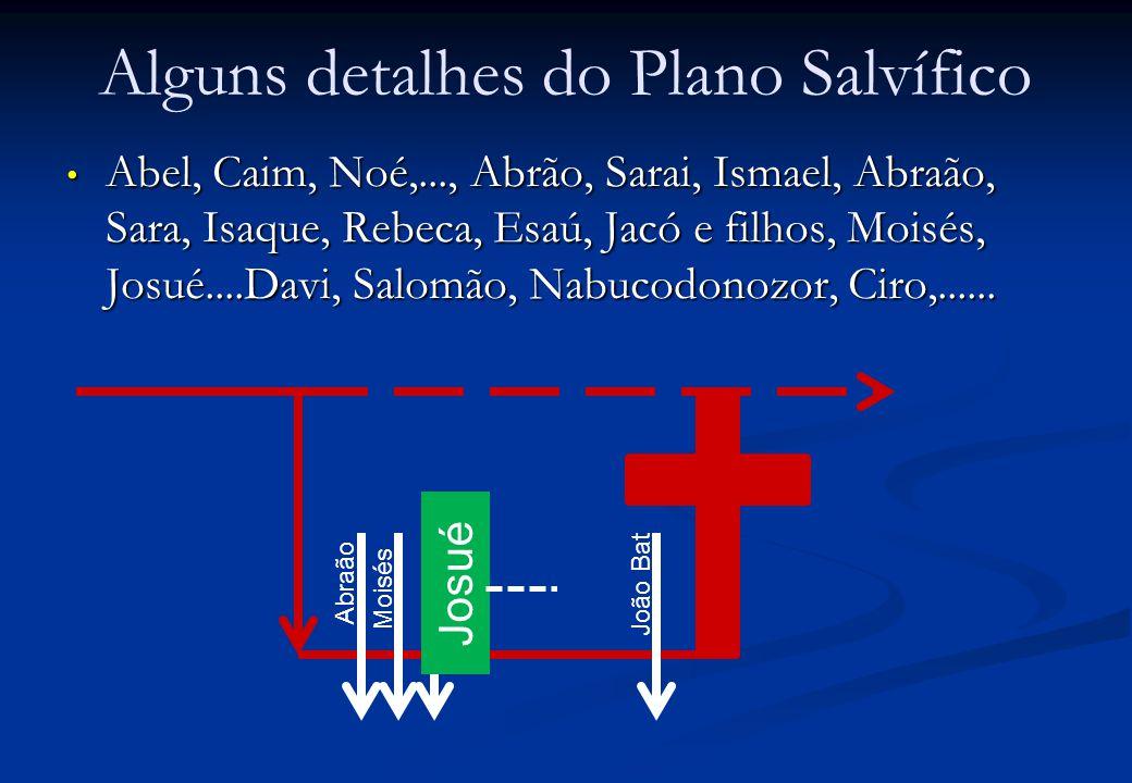 Alguns detalhes do Plano Salvífico Abel, Caim, Noé,..., Abrão, Sarai, Ismael, Abraão, Sara, Isaque, Rebeca, Esaú, Jacó e filhos, Moisés, Josué....Davi
