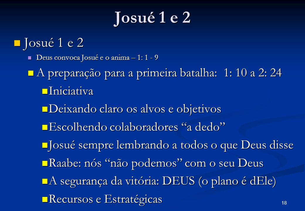 Josué 1 e 2 Josué 1 e 2 Josué 1 e 2 Deus convoca Josué e o anima – 1: 1 - 9 Deus convoca Josué e o anima – 1: 1 - 9 A preparação para a primeira batalha: 1: 10 a 2: 24 A preparação para a primeira batalha: 1: 10 a 2: 24 Iniciativa Iniciativa Deixando claro os alvos e objetivos Deixando claro os alvos e objetivos Escolhendo colaboradores a dedo Escolhendo colaboradores a dedo Josué sempre lembrando a todos o que Deus disse Josué sempre lembrando a todos o que Deus disse Raabe: nós não podemos com o seu Deus Raabe: nós não podemos com o seu Deus A segurança da vitória: DEUS (o plano é dEle) A segurança da vitória: DEUS (o plano é dEle) Recursos e Estratégicas Recursos e Estratégicas 18