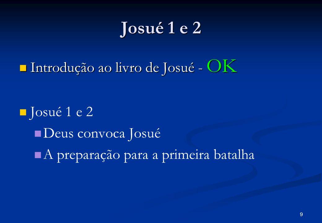 Josué 1 e 2 Josué 1 e 2 Josué 1 e 2 Deus convoca Josué e o anima – 1: 1 – 9 Deus convoca Josué e o anima – 1: 1 – 9 Leitura do texto Leitura do texto Personagens principais e respectivas posições Personagens principais e respectivas posições Há um plano em execução.