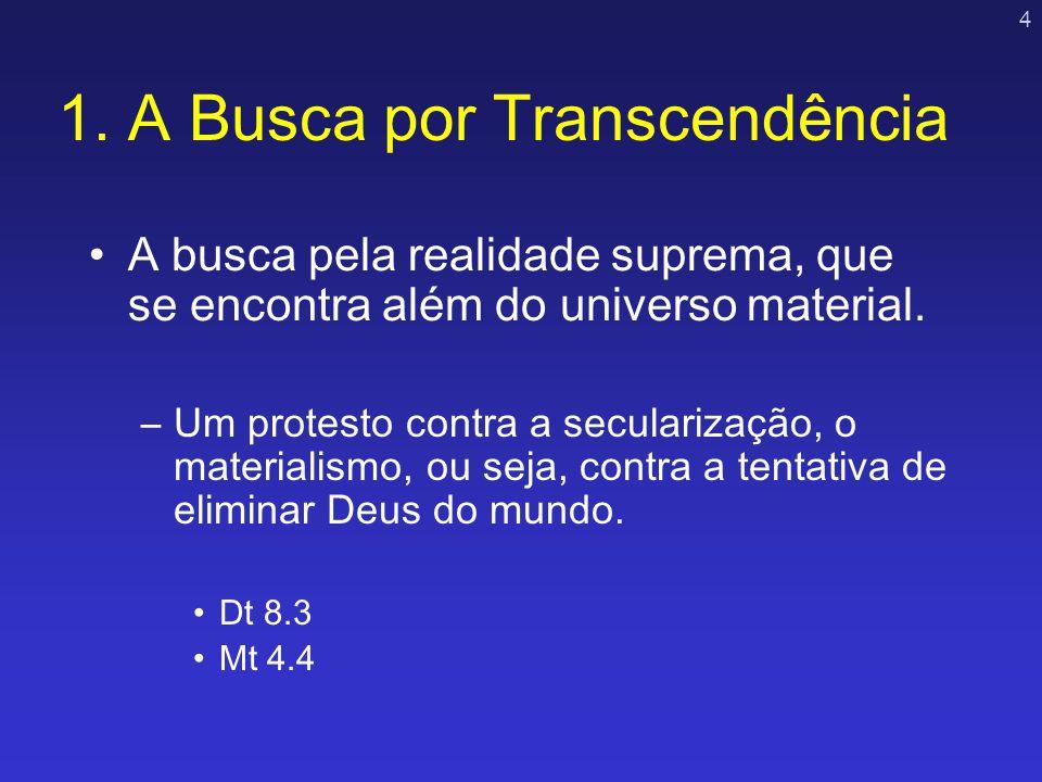 4 1. A Busca por Transcendência A busca pela realidade suprema, que se encontra além do universo material. –Um protesto contra a secularização, o mate