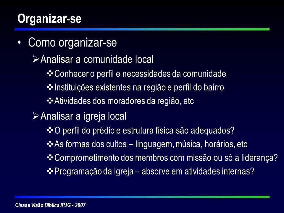 Classe Visão Bíblica IPJG - 2007 Organizar-se Como organizar-se Analisar a comunidade local Conhecer o perfil e necessidades da comunidade Instituiçõe