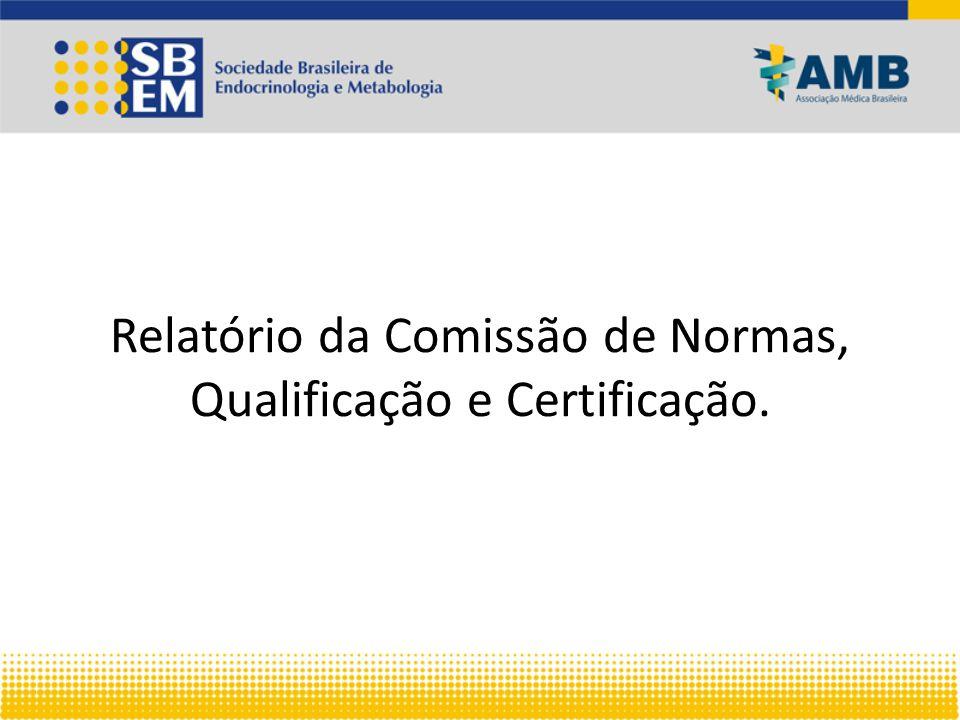 Relatório da Comissão de Normas, Qualificação e Certificação.
