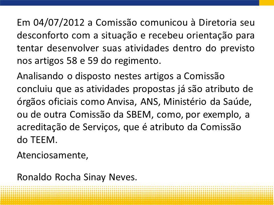Em 04/07/2012 a Comissão comunicou à Diretoria seu desconforto com a situação e recebeu orientação para tentar desenvolver suas atividades dentro do previsto nos artigos 58 e 59 do regimento.