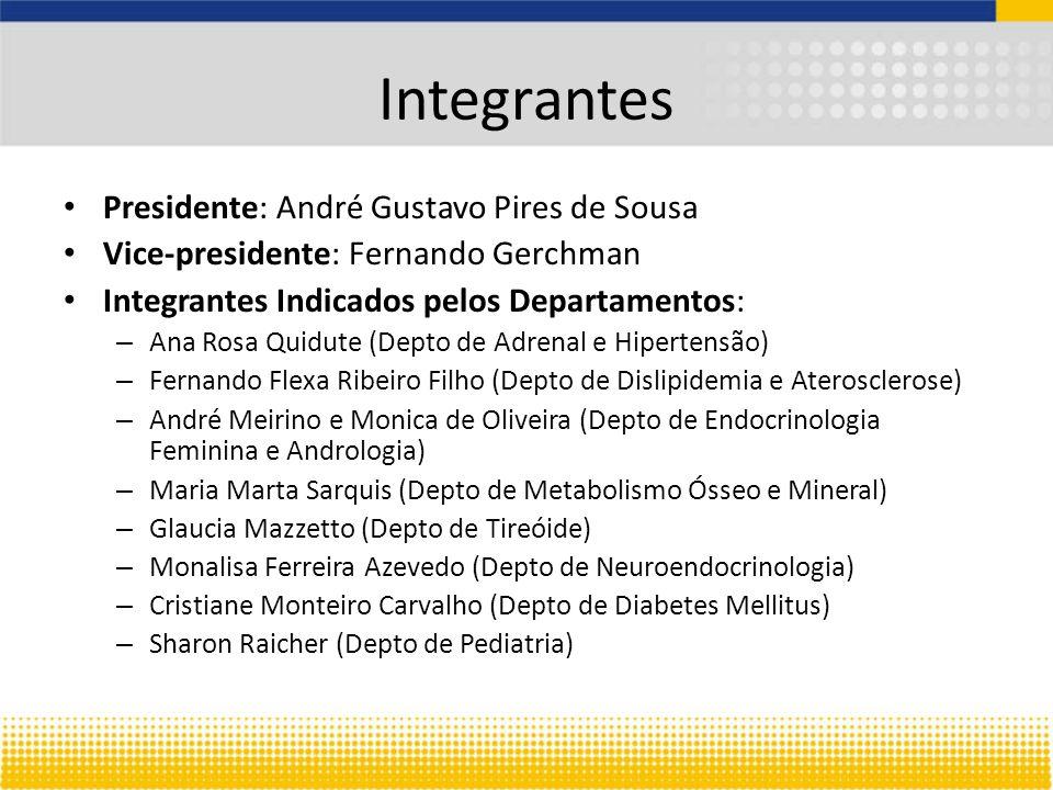 Integrantes Presidente: André Gustavo Pires de Sousa Vice-presidente: Fernando Gerchman Integrantes Indicados pelos Departamentos: – Ana Rosa Quidute