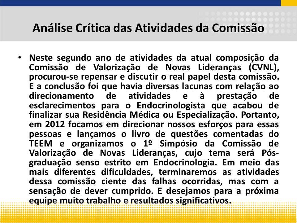 Análise Crítica das Atividades da Comissão Neste segundo ano de atividades da atual composição da Comissão de Valorização de Novas Lideranças (CVNL), procurou-se repensar e discutir o real papel desta comissão.