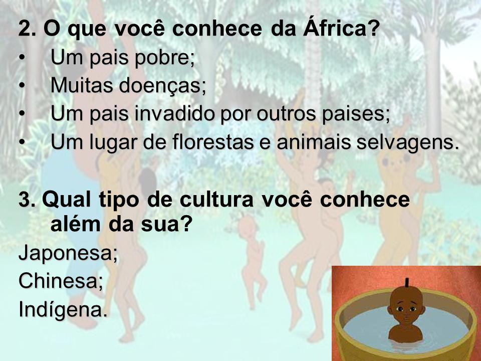 2. O que você conhece da África? Um pais pobre;Um pais pobre; Muitas doenças;Muitas doenças; Um pais invadido por outros paises;Um pais invadido por o