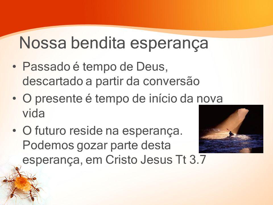 Nossa bendita esperança Passado é tempo de Deus, descartado a partir da conversão O presente é tempo de início da nova vida O futuro reside na esperan