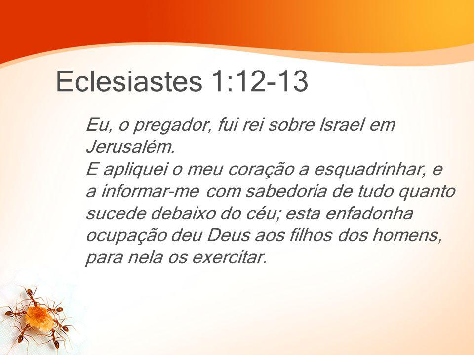 Eclesiastes 1:12-13 Eu, o pregador, fui rei sobre Israel em Jerusalém. E apliquei o meu coração a esquadrinhar, e a informar-me com sabedoria de tudo