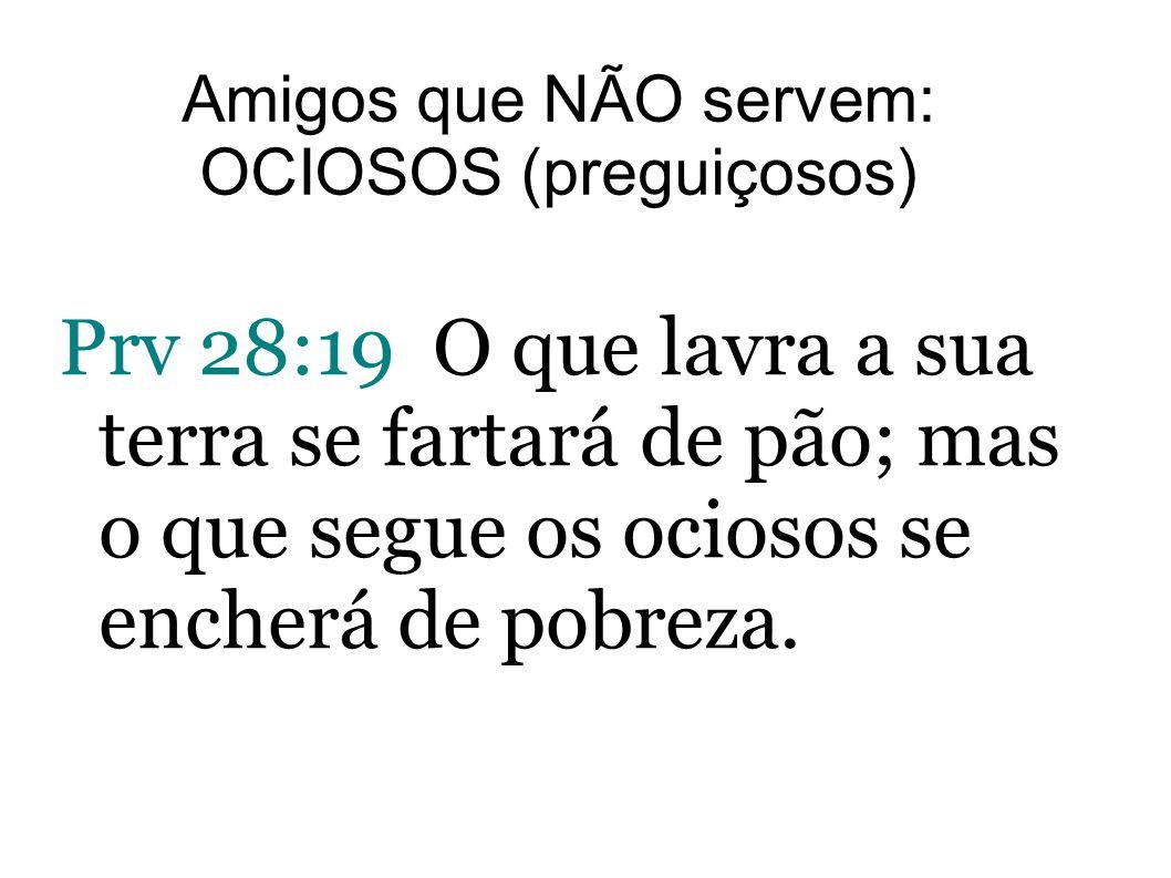 Prv 28:19 O que lavra a sua terra se fartará de pão; mas o que segue os ociosos se encherá de pobreza. Amigos que NÃO servem: OCIOSOS (preguiçosos)