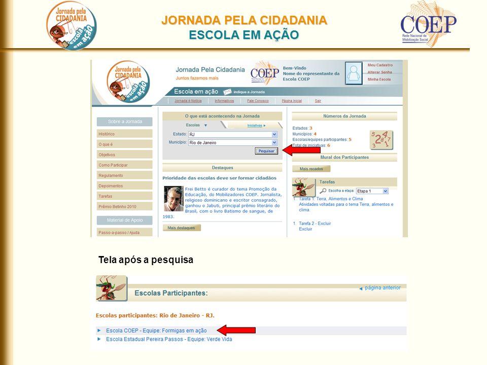 JORNADA PELA CIDADANIA ESCOLA EM AÇÃO Tela após a pesquisa