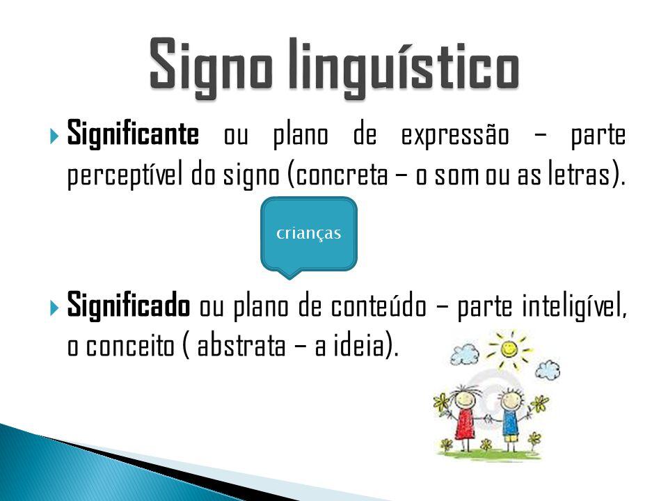 Significante ou plano de expressão – parte perceptível do signo (concreta – o som ou as letras).