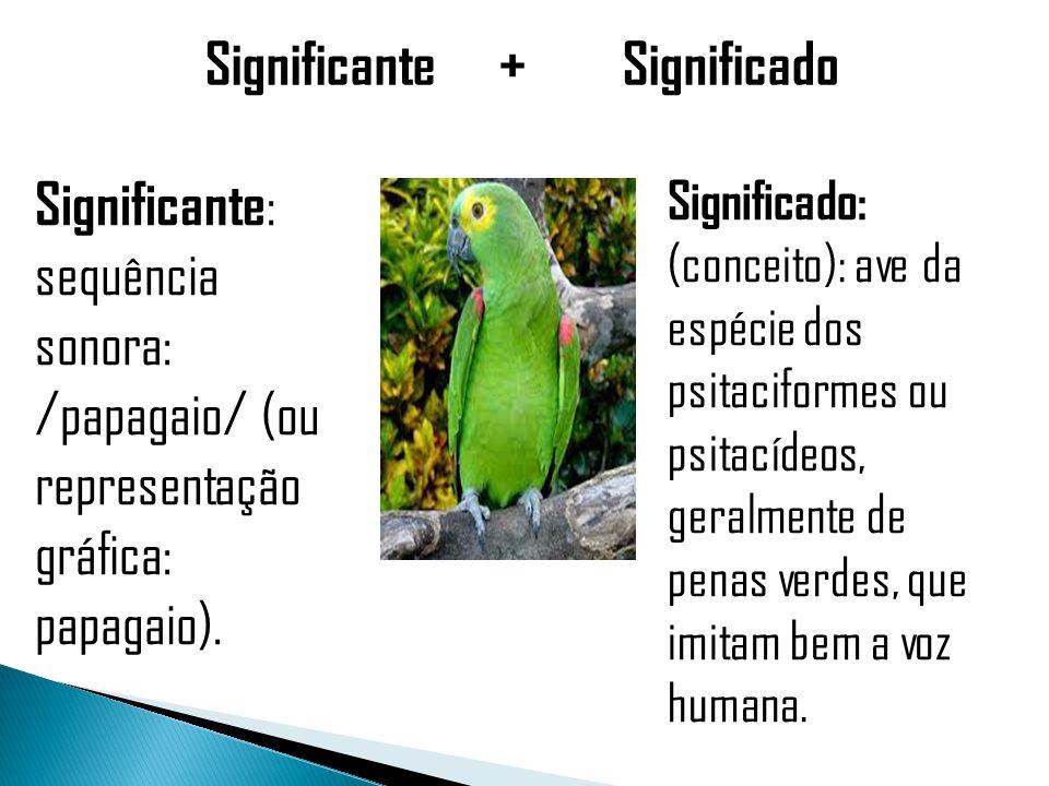 Significante + Significado Significante : sequência sonora: /papagaio/ (ou representação gráfica: papagaio).