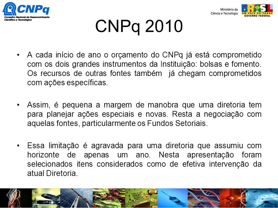 CNPq 2010 A cada início de ano o orçamento do CNPq já está comprometido com os dois grandes instrumentos da Instituição: bolsas e fomento. Os recursos
