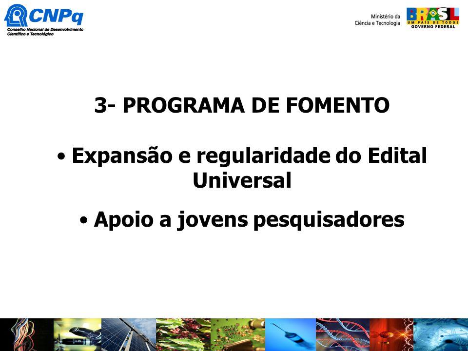 3- PROGRAMA DE FOMENTO Expansão e regularidade do Edital Universal Apoio a jovens pesquisadores