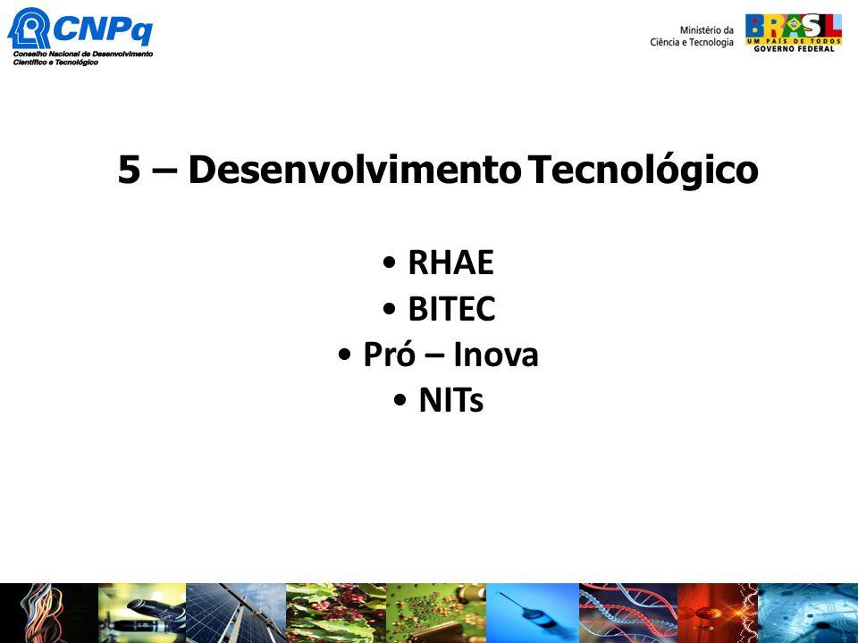 5 – Desenvolvimento Tecnológico RHAE BITEC Pró – Inova NITs