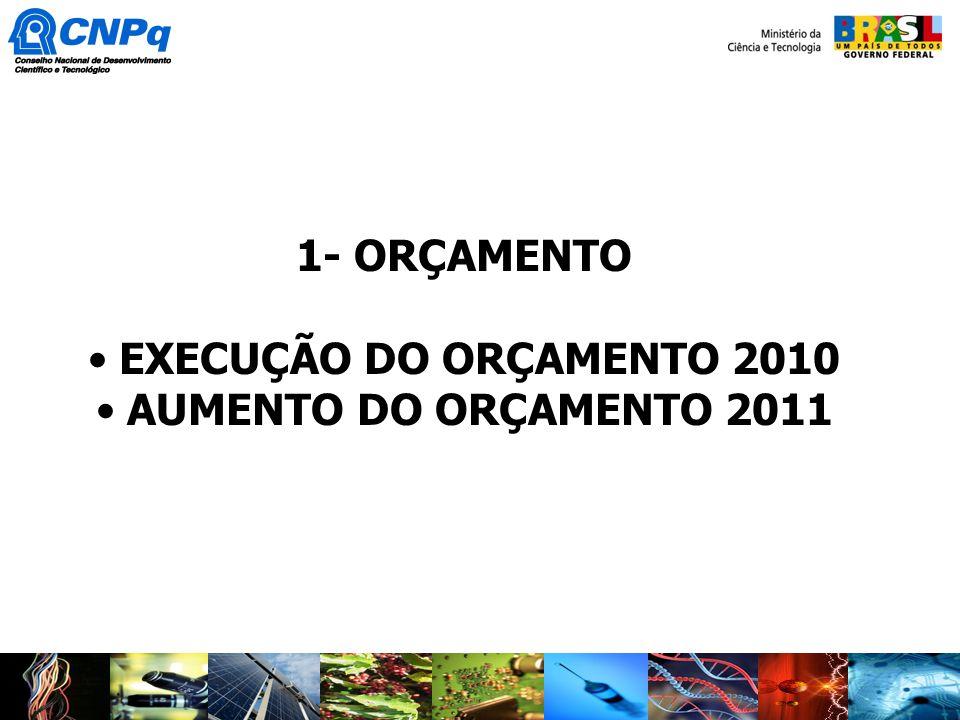 1- ORÇAMENTO EXECUÇÃO DO ORÇAMENTO 2010 AUMENTO DO ORÇAMENTO 2011