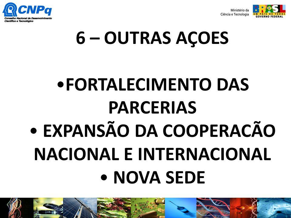 6 – OUTRAS AÇOES FORTALECIMENTO DAS PARCERIAS EXPANSÃO DA COOPERACÃO NACIONAL E INTERNACIONAL NOVA SEDE