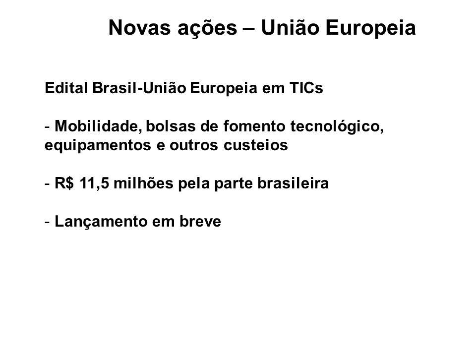 Novas ações – União Europeia Edital Brasil-União Europeia em TICs - Mobilidade, bolsas de fomento tecnológico, equipamentos e outros custeios - R$ 11,