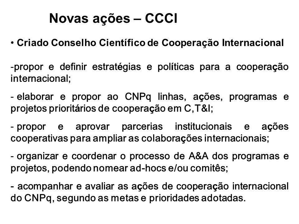Novas ações – CCCI Criado Conselho Científico de Cooperação Internacional -propor e definir estrat é gias e pol í ticas para a coopera ç ão internacio