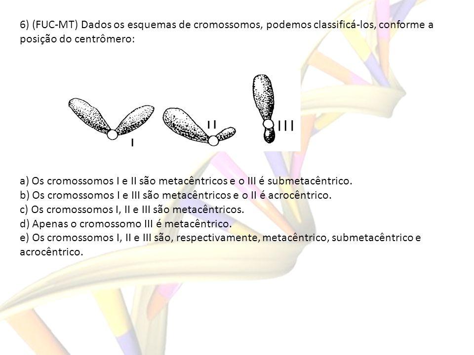 6) (FUC-MT) Dados os esquemas de cromossomos, podemos classificá-los, conforme a posição do centrômero: a) Os cromossomos I e II são metacêntricos e o