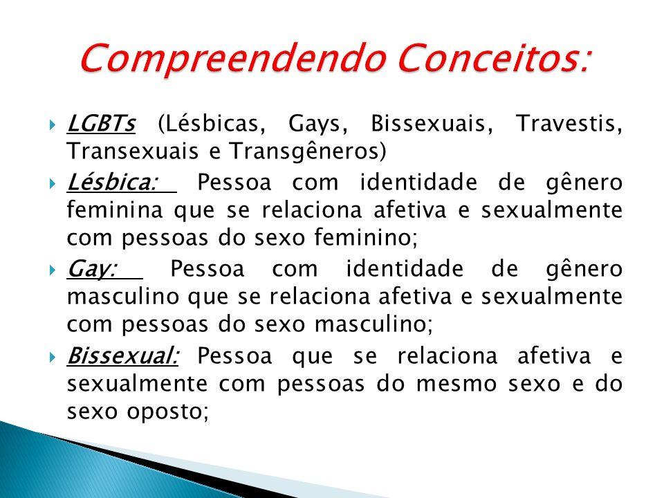 LGBTs (Lésbicas, Gays, Bissexuais, Travestis, Transexuais e Transgêneros) Lésbica: Pessoa com identidade de gênero feminina que se relaciona afetiva e sexualmente com pessoas do sexo feminino; Gay: Pessoa com identidade de gênero masculino que se relaciona afetiva e sexualmente com pessoas do sexo masculino; Bissexual: Pessoa que se relaciona afetiva e sexualmente com pessoas do mesmo sexo e do sexo oposto;