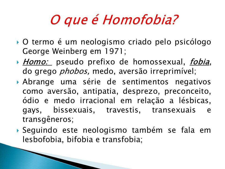 O termo é um neologismo criado pelo psicólogo George Weinberg em 1971; Homo: pseudo prefixo de homossexual, fobia, do grego phobos, medo, aversão irreprimível; Abrange uma série de sentimentos negativos como aversão, antipatia, desprezo, preconceito, ódio e medo irracional em relação a lésbicas, gays, bissexuais, travestis, transexuais e transgêneros; Seguindo este neologismo também se fala em lesbofobia, bifobia e transfobia;