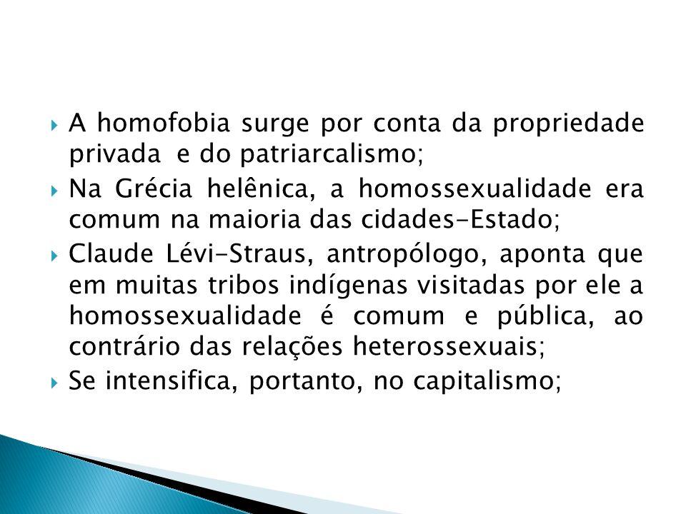 A homofobia surge por conta da propriedade privada e do patriarcalismo; Na Grécia helênica, a homossexualidade era comum na maioria das cidades-Estado; Claude Lévi-Straus, antropólogo, aponta que em muitas tribos indígenas visitadas por ele a homossexualidade é comum e pública, ao contrário das relações heterossexuais; Se intensifica, portanto, no capitalismo;