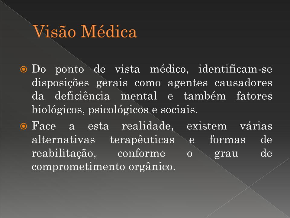 Do ponto de vista médico, identificam-se disposições gerais como agentes causadores da deficiência mental e também fatores biológicos, psicológicos e