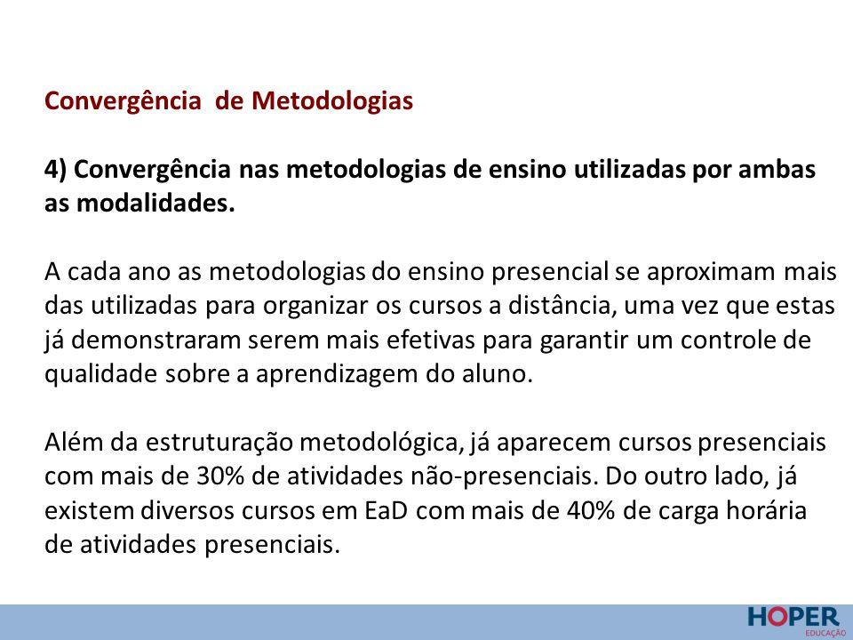 Convergência de Metodologias 4) Convergência nas metodologias de ensino utilizadas por ambas as modalidades. A cada ano as metodologias do ensino pres