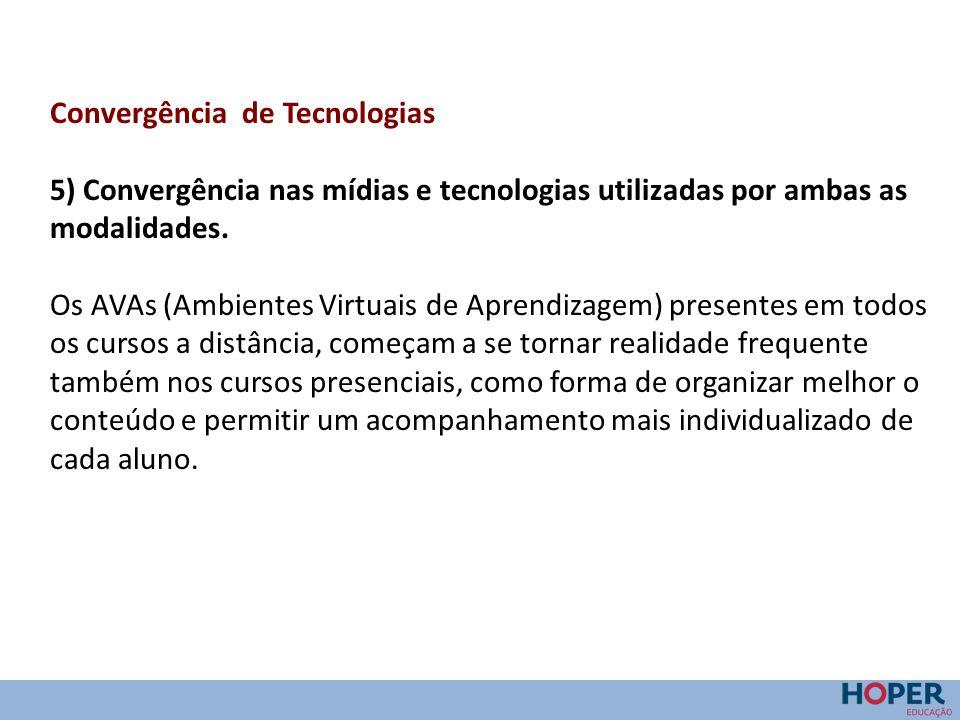 Convergência de Tecnologias 5) Convergência nas mídias e tecnologias utilizadas por ambas as modalidades. Os AVAs (Ambientes Virtuais de Aprendizagem)