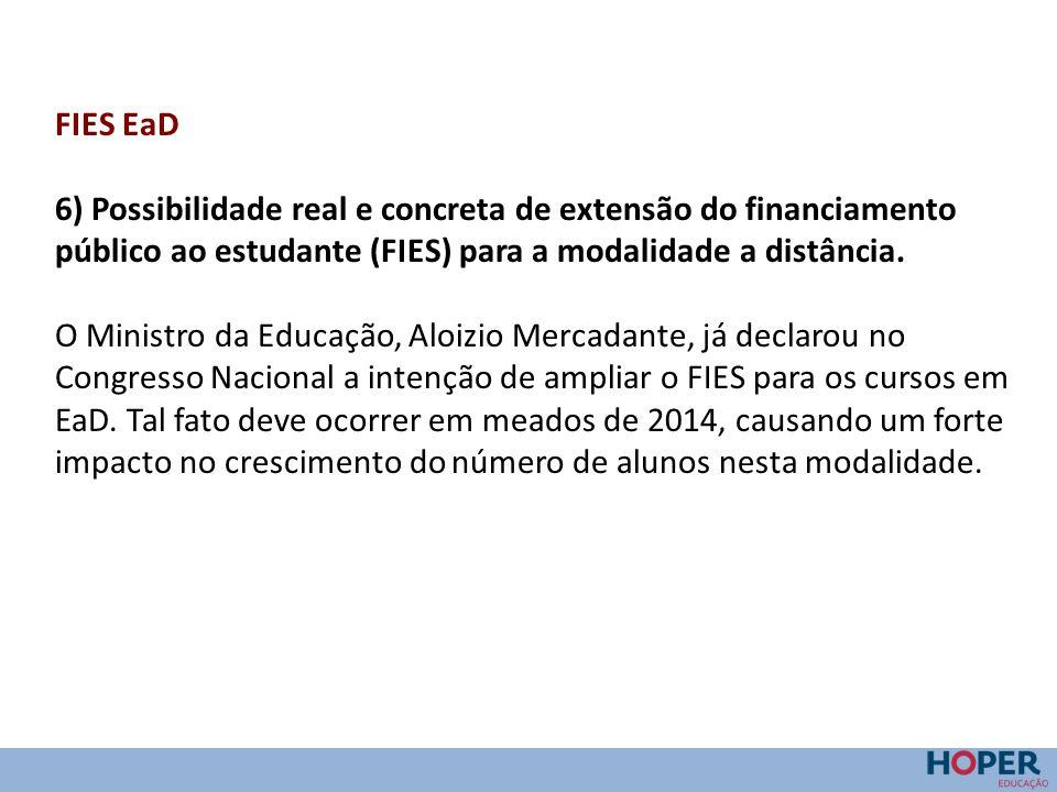FIES EaD 6) Possibilidade real e concreta de extensão do financiamento público ao estudante (FIES) para a modalidade a distância. O Ministro da Educaç