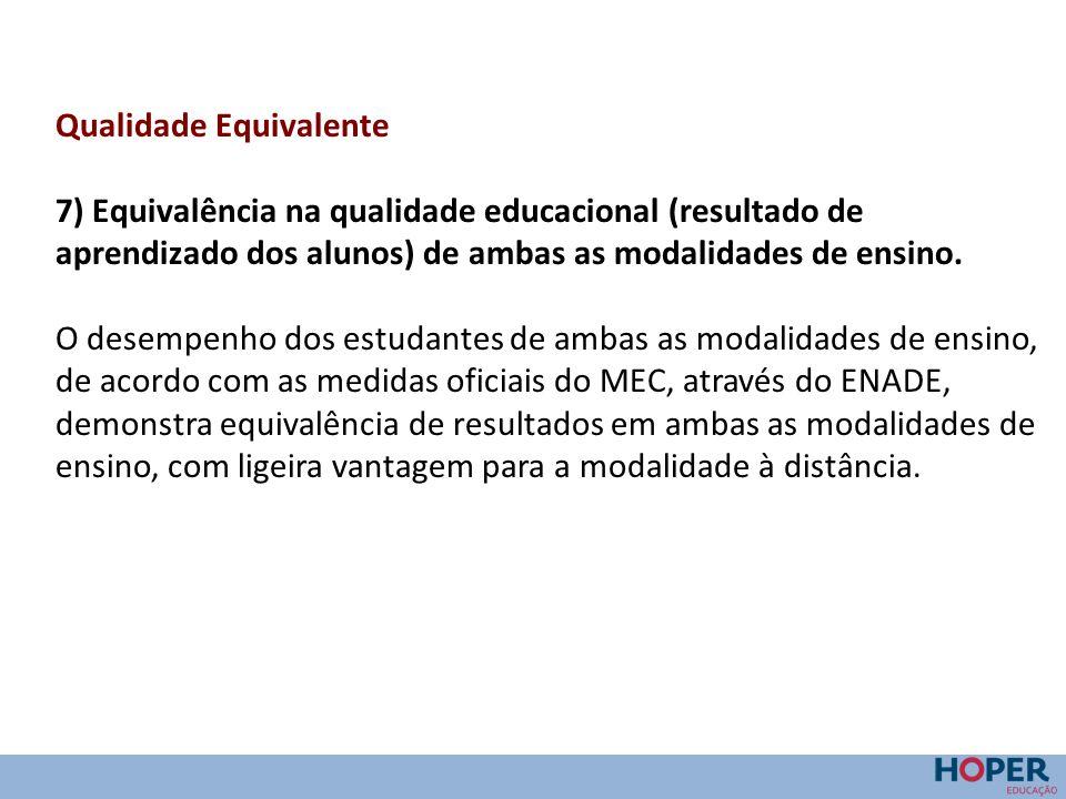 Qualidade Equivalente 7) Equivalência na qualidade educacional (resultado de aprendizado dos alunos) de ambas as modalidades de ensino. O desempenho d