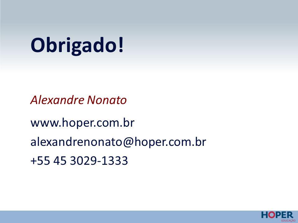 Obrigado! Alexandre Nonato www.hoper.com.br alexandrenonato@hoper.com.br +55 45 3029-1333